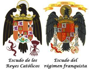 escudos RRCC y franquista